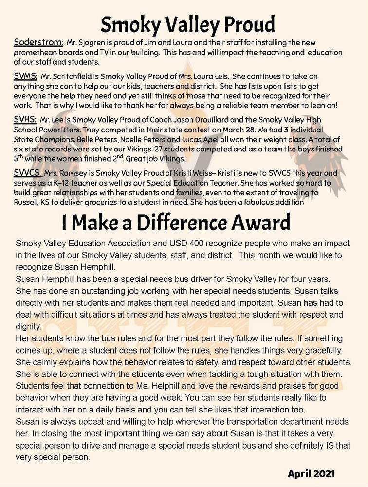 Smoky Valley Proud & I Make a Difference