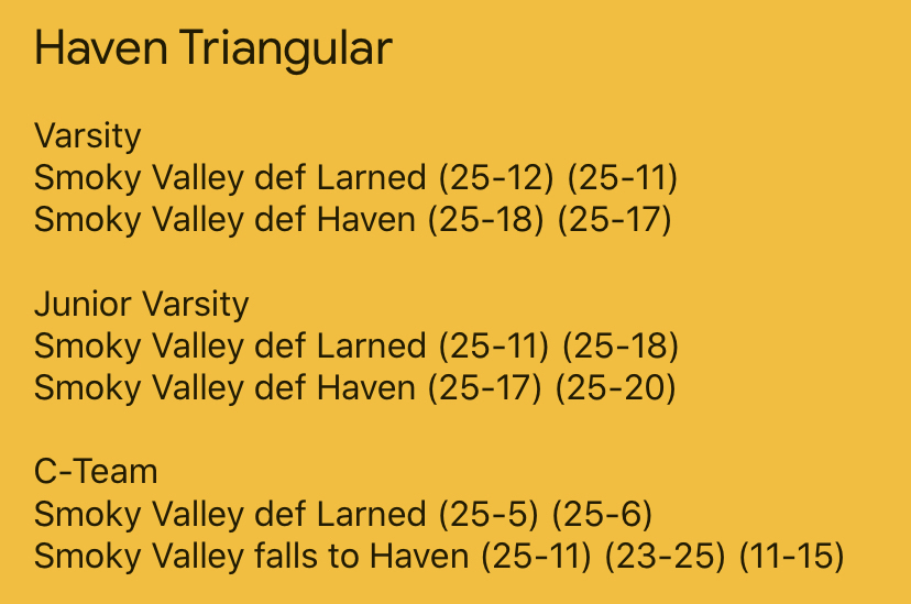 Haven Triangular Scores