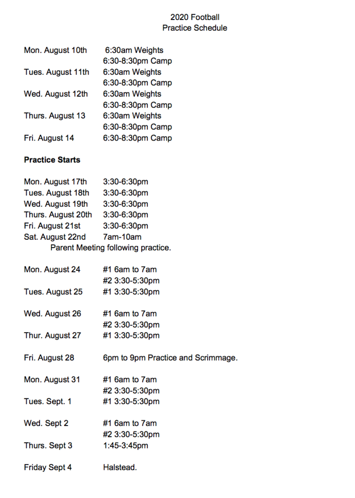 2020 SVHS Football Practice/Camp Schedule