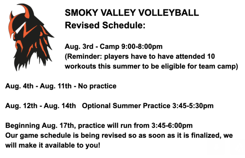 2020 SVHS Volleyball Practice Schedule