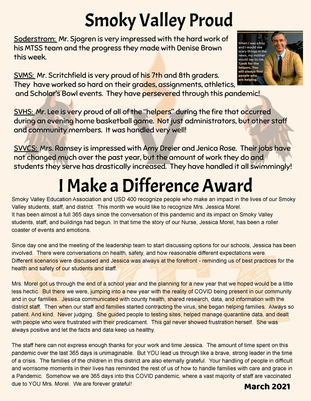 March- Smoky Valley Proud & I Make a Difference
